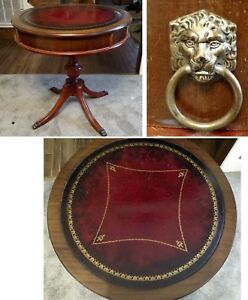 Mid Century Leather Top Drum Table Duncan Phyfe Style Pedestal Claw Foot Lion