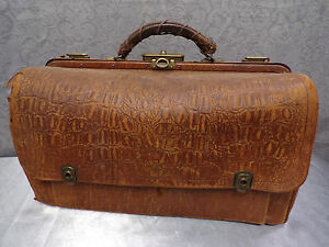 French Antique Leather Doctor S Satchel Circa 1930