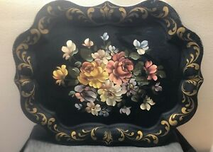 Vintage Large 24 X 19 Metal Tole Tray Chippendale Hand Painted Floral Flowers