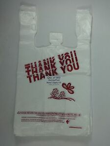 Qty 500 Thank You T shirt Bags Plastic 11 5 X 6 25 X 21 Retail Shopping