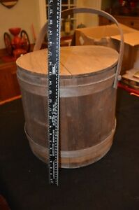 Large Antique 19th Century Wooden Firkin Bucket