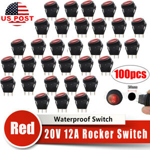 100pcs Wiring Harness Red Round Rocker Switch Led Light Car Auto Boat Waterproof