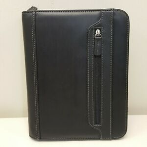 Franklin Covey Planner Binder Organizer Black Zip Up Office Pockets 7 Rings