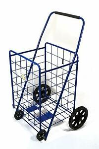Folding Shopping Cart For Grocery 39 7 X 24 4 X 20 Inches Black gray blue
