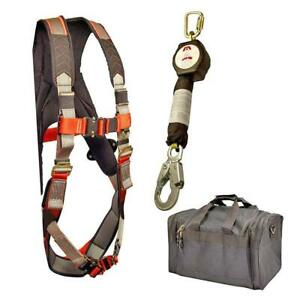 Madaco Fall Protection Full Body Industrial Safety Harness 6ft Lanyard Kit M xxl