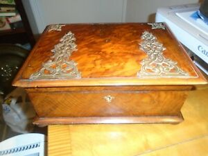 Very Pretty Antique Victorian Burr Walnut Sewing Box Fully Fitted Interior