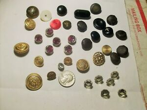 Nice Collection Assorted Buttons Celluloid Glass Rhinestones Vintage