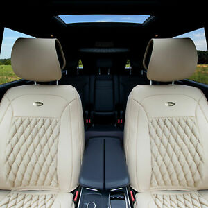 Pu Leather Luxury Seat Cushion Pad Covers Front Bucket For Auto Solid Beige