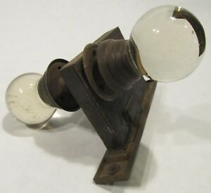 Antique Round Clear Glass Door Knob Handles And Lock Set