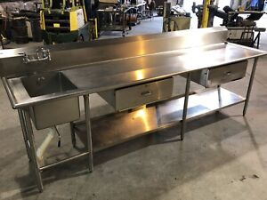 120 Stainless Steel Prep Table With Sink And Under Shelf