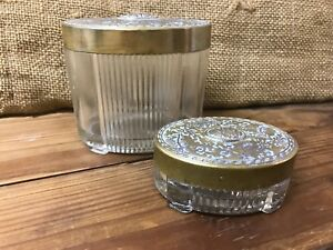 2 Art Deco Oval Glass Vanity Jars Canisters With Brass Ornate Floral Dsgned Lid