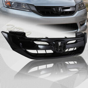For 2013 2015 Honda Accord 4dr Sedan Gloss Black Front Hood Modul Grille Grill