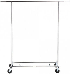 Rolling Garment Rack Chrome Expandable Vertically And Horizontally Collapsible