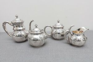 Wallace Antique Sterling Silver Tea Set Teapot Coffee Creamer Sugar 706