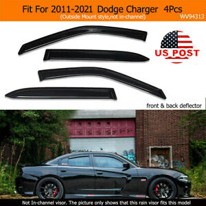 Arylic Window Visors Sun Rain Guards Vent Shade Fit For 2011 2019 Dodge Charger