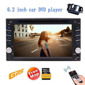 6 2 2din Hd Car Stereo Gps Car Dvd Player Auto Radio With Backup Camera Kit Map