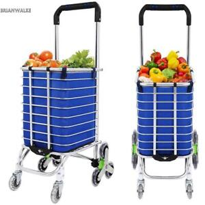 Folding Shopping Cart W 8 Wheels For Laundry Grocery Travel Stainless Frame Us