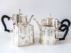 Vintage Silver Plate Coffee Tea Service Set Art Deco Design Great Condition