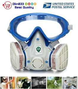 Silicone Full Face Respirator Gas Mask Goggles Paint Chemical Dustproof Fire