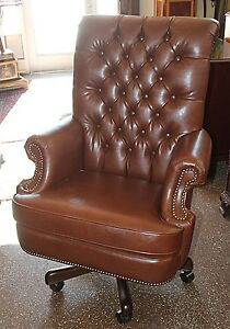 Gorgeous Genuine Leather Tufted Tall Back Antique Style Office Desk Chair New