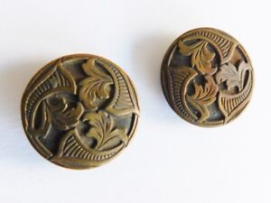 Antique Metal Button Lot Of 2 Detailed Art Nouveau High Relief Shank Round Vtg