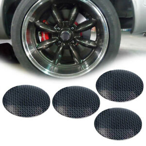 Set Of 4 Black Center Caps 56 5mm Wheel Cover Hub Rim Car Curve Racing Universal