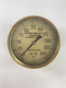 Antique Vintage Rockwood Sprinkler Co 250 Fm Brass Air Gauge Worcester 5 Mass