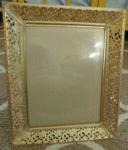 Vintage Filigree Ornate Floral Gold White Metal Free Stand Picture Frame 8x10