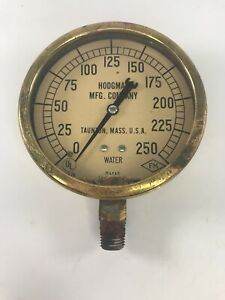 Antique Vintage Hodgman Mfg Company Brass Fire Sprinkler Water Gauge Taunton Ma