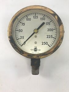 Antique Vintage U s Gauge usg Brass 3 1 2 250 Psi Water Pressure Gauge