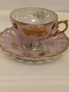 Pink Gold Iridescent Bone China Tea Cup And Saucer Set No Stamps Or Markings