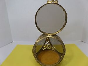 Antique Glass Brass 3 Sided Display Case W Hinged Door