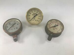 Antique Lot Of 3 Brass Sprinkler Water Pressure Gauges Rockwood harris usg