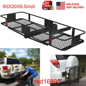 60 Multifunctional Folding Hitch Mount Cargo Carrier Mounted Basket Luggagerack