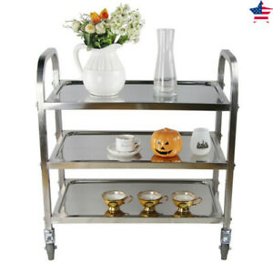 Kitchen Bar Rolling Cart Party Serving Shelf Restaurant Catering Stainless Steel