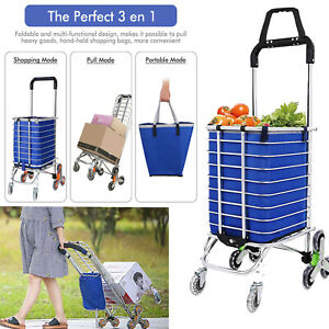 Folding Shopping Cart Large Size Basket Hand Wheels Truck Laundry Grocery Travel