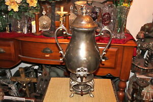 Large Antique Victorian Style Silver Metal Samovar Teapot Coffeepot