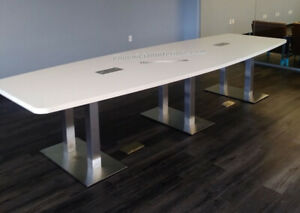 10 Foot Modern Conference Table With Grommets And Metal Legs White And 5 Colors