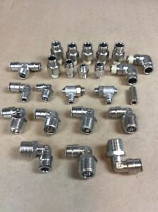 Lot Of 24 Misc Push to connect Push Lock Pneumatic Elbow tee conn Fittings