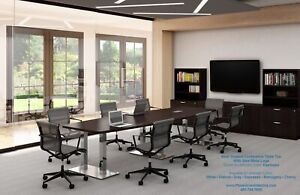 14 Foot Modern Conference Table With Grommets And Metal Legs White And 5 Colors