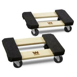 Wen 2 pack 12 X 18 In Hardwood Furniture Movers Moving Dolly 1000 Lbs Capacity