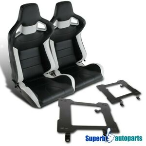 79 98 Mustang Jdm Black White Speed Racing Seats laser Welded Brackets Kit