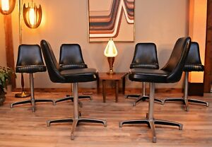 4 Available Rare Mid Century Swivel Chromcraft Bar Stools With Removable Backs