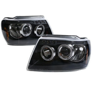 For 99 04 Jeep Grand Cherokee Led Halo Projector Headlights Headlamps Lamps Used