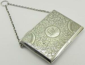 Victorian Solid Silver Card Case Wallet Pencil 136gr Birm 1899 By Jr