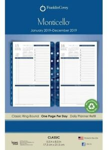 Classic Monticello One page per day Ring bound Planner Jan 2019 Dec 2019