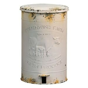 Farmhouse White Cow Calf Trash Bin Metal Distressed Embossed French Country Rust