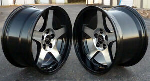 17 Black Cnc Face 03 Cobra Style Wheels 17x9 17x10 5 5x114 3 94 04 Mustang