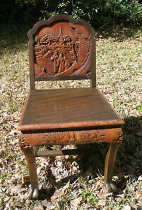 Asian Japanese Panel Side Chair Export Lacquer Hand Carved Scene Bats