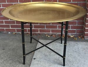 Hollywood Regency Brass Tray Table Faux Bamboo Stand
